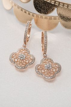 Beydodo Leaf Earrings Studs Wedding Earring for Bride Asymmetry Leaf Round Cut White Cubic Zirconia