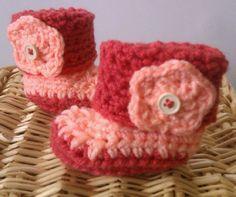 Hand CrochetCoral & Peach Girl BootiesBaby por TjCrochetCreations, $9.00