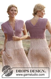 """Knitted DROPS bolero in garter st and with lace pattern """"BabyAlpaca Silk"""" and """"Kid-Silk"""". ~ DROPS Design"""