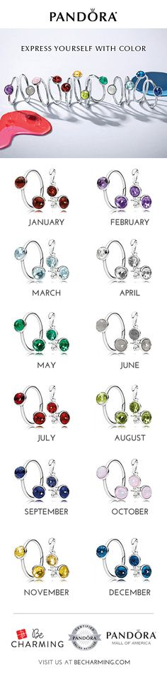 Celebrate birthdays, anniversaries and favorite colors with the new birthstone droplets collection from PANDORA.