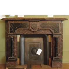 Antique Late Victorian, Eastlake style slate half mantel from ...