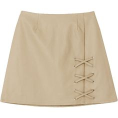 サイドレースアップレザースカート (4,325 INR) ❤ liked on Polyvore featuring skirts, bottoms and brown skirt