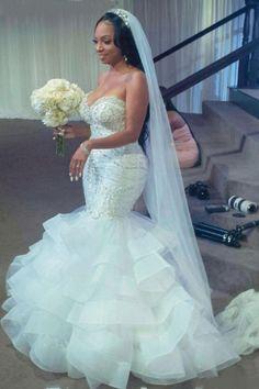 Mermaid Trumpet Wedding Dresses, Fancy Wedding Dresses, African Wedding Dress, Mermaid Dresses, Bridal Dresses, Mermaid Bridal Gowns, Wedding Gowns, Looks Black, Wedding Ideas