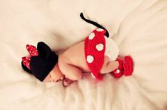 Cute Baby in a Crochet Minnie Mouse Costume... now to find the pattern..