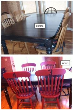 Black dining table with red ladder back chairs, lightly distressed ...
