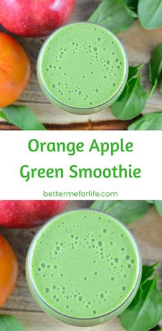Healthy Smoothies Recipe Orange Apple Green Smoothie - Sweet and tart combine deliciously in this refreshing orange apple green smoothie. Except for the color, you'd never guess there was a vegetable in it. Healthy Green Smoothies, Apple Smoothies, Green Smoothie Recipes, Easy Smoothies, Strawberry Smoothie, Juice Smoothie, Smoothie Drinks, Weight Loss Smoothies, Healthy Drinks