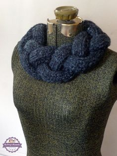 Knitted Braided Cowl Necklace Infinity Scarf by BoPeepsBonnets, $40.00