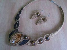 Macrame Set Macrame Necklace Macrame Earrings Oval by MACRANI