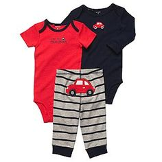Carter's- -Infant Boy's 3Pc Bodysuits & Pants - Car