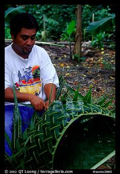Villager weaving a basket out of a single palm leaf. Tutuila, American Samoa (color)