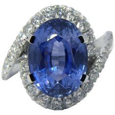 Original 60s GIA Certified No Heat Oval Cut 6.99 Carat Sapphire Cocktail Ring