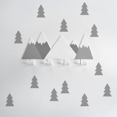 Wall Hook & Wall Stickers . Mountains & Trees / Light Grey
