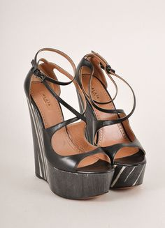 Black and Cream Strappy Leather Striped Wooden Platform Wedges