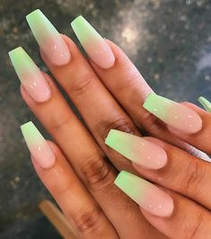 Simple Acrylic Nails, Best Acrylic Nails, Summer Acrylic Nails, Acrylic Nails Green, Summer Nails, Acrylic Nails Coffin Ombre, Square Acrylic Nails, Acrylic Nail Designs, Simple Nails