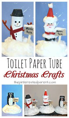 toilet paper tube snowman, Santa, penguin at the North Pole. Recyclable cardboard roll arts & crafts for kids for winter and Christmas