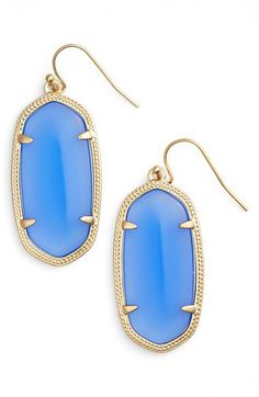 "Super trendy right now! I'm seeing these ""Kendra Scott"" drop earrings everywhere. They come in all different colors."