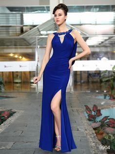背中シースルーと美脚スリットのWセクシー☆ 妖艶ブルー系ロングドレス♪ - ロングドレス・パーティードレスはGN|演奏会や結婚式に大活躍!