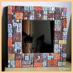 Polymer clay mosaic mirror ,  specchio mosaico fimo ( pasta polimerica )