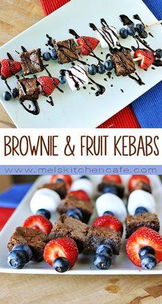 These Brownie & Fruit Kebabs are perfect for the upcoming 4th of July holiday and are really fun to eat.