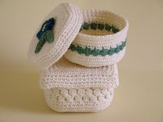 square and round baskets crochet floral