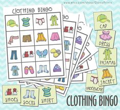 Clothing Printable Bingo Game PDF - preschool printable - kindergarten printable - Early Learning File