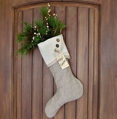 No. 1 Sublimely Neutral and Textural Christmas Stocking - Droopy Toe. $31.00, via Etsy.