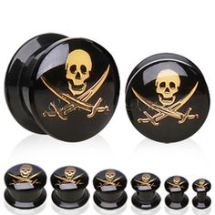 UV Coated Acrylic Double Flared Screw Fit Ear Plug / Ear Gauge with Pirate Logo