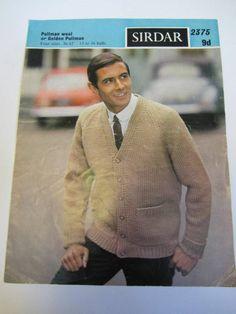 "vintage knitting pattern mens cardigan retro 60's 36-42"""