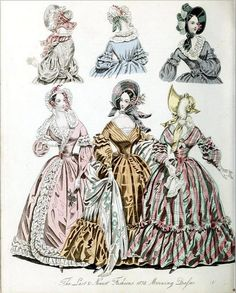 The World of Fashion and Continental Feuilletons 1838 - Plate 51 - Morning Dresses by CharmaineZoe, via Flickr