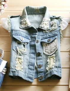 Lace Embelished Denim Vest - Glitzx Buy it from glitzx.com
