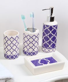 purple glass bathroom accessories. Another Great Find On  Zulily Purple Lattice Four Piece Ceramic Bath Accessory Set Hand Blown Art Glass Accessories Of 4 By Route4glass