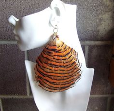 Fly Girl Jumbo Feather Earrings Golden by UniqueDesignedJewels, $25.00