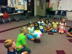 using a beach ball in music class ... GREAT idea.