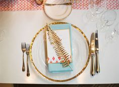 gold fern place setting