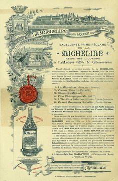 """Affiche publicitaire de la distillerie carcassonnaise """"Sabatier"""", imprimée vers 1900 pour une vente promotionnelle de liqueurs. Collection: Archives Départementales de l'Aude"""