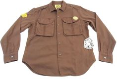 "BBC Billionaire Boys Club ""Lodge"" Brown Long Sleeve Snap Shirt Size Large L New #BillionaireBoysClub #SnapFront"