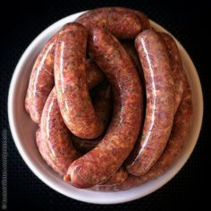 - With a Merguez, the bratwurst made of lamb or lamb plus beef, which originated in North Africa and h - Bbq Sausage Recipe, Homemade Sausage Recipes, Sausage Pasta, Charcuterie, Meat Love, Bratwurst Recipes, Pork Ham, How To Make Sausage, Sausage Making