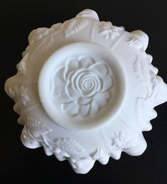 Vintage Ivory Milk Glass Fluted Ruffled Edge Decaled Dogwood Flowers Footed Bowl