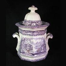 Large Antique Victorian English Lavender Staffordshire Transferware Sugar Bowl ca. 1860