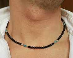 Mens Choker Necklace Malachite Obsidian Necklace Mens Beaded Choker ... A BEST GIFT FOR YOUR FRIEND... Material snowflake obsidian 6 malahit 6mm moonstone 6mm onyx 6mm tiger eye 6mm turquoise 6mm white agate 6mm yours design Perfect quality MEN JEWELRY https://www.etsy.com/shop/PupikJewelry?section_id=15908436 !!! DESIGN YOUR JEWELRY !!! PLEASE CONTACT ME IF YOU WOULD LIKE A BRACELET, SHAMBALA BRACELET, CHOKER, NECKLACE(DESIGN) WITH STONES AND OTHER MATERI...