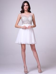 Sheer Jeweled Bodice Short Prom Dress   Sung Boutique L.A.