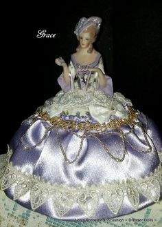 Grace ~ Beautiful handcrafted porcelain half doll Pincushion~Dresser Doll