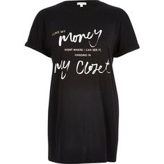 River Island Black metallic slogan print oversized t-shirt ($36) ❤ liked on Polyvore featuring tops, t-shirts, black, print t-shirts / tanks, t shirts / tanks / sweats, women, oversized tee, pattern t shirts, crew neck t shirt and cotton tee