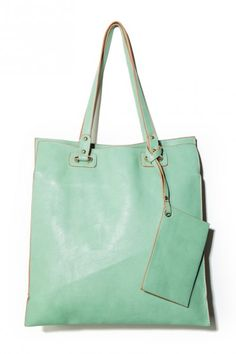 leafwood tote in mint. - good for our new front window.