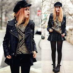 # ChicWish Faux Leather Black Motorcycle Jacket - Outers - Retro, Indie and Unique Fashion Punk Fashion, Fashion Brand, Womens Fashion, Grunge Fashion, Luanna Perez, Led Dress, Jacket Pattern, Up Girl, Look Chic