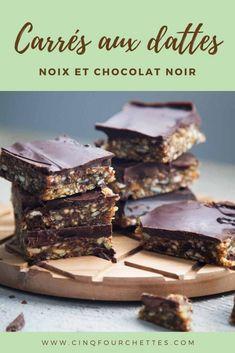 Carrés aux dattes et chocolat SANS GLUTEN - Cinq Fourchettes No Bake Desserts, Biscuits, Baking, Food, Vegan, Date Squares, Cooking Recipes, Sugar, Crack Crackers