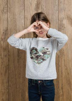 Sequin heart sweatshirt #MANGOKids #FW14 #Kids