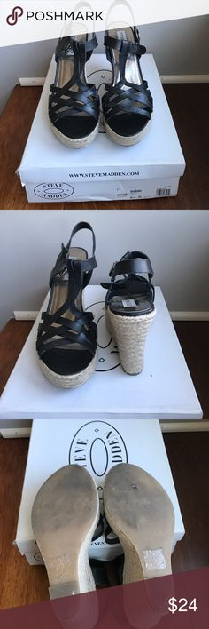 Steve Madden wedges size 8.5 Steve Madden black wedges size 8.5 never worn and comes with box Steve Madden Shoes Wedges