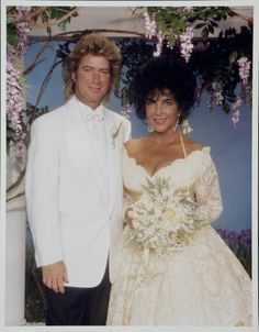 "Husband #8: Lawrence Lee ""Larry"" Fortensky Taylor met her last husband, construction worker Larry Fortensky during a stay at the Betty Ford clinic in 1991. The marriage took place at Michael Jackson's Neverland Ranch in California and ended in divorce exactly five years later."