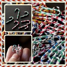 Miniature candy canes from striped paper clips, Tiny Ter Miniatures: Tips and Tricks Miniature Crafts, Miniature Christmas, Christmas Minis, Miniature Dolls, Christmas Crafts, Dollhouse Tutorials, Diy Dollhouse, Dollhouse Miniatures, Mini Candy Canes